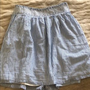 Blue and white striped mini skirt